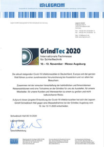 Absage Messestand Legrorm GrindTec 2020