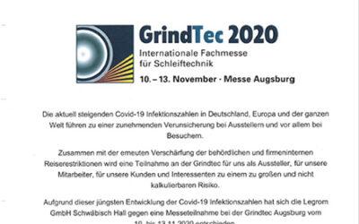 Legrom dieses Jahr nicht auf der GrindTec 2020
